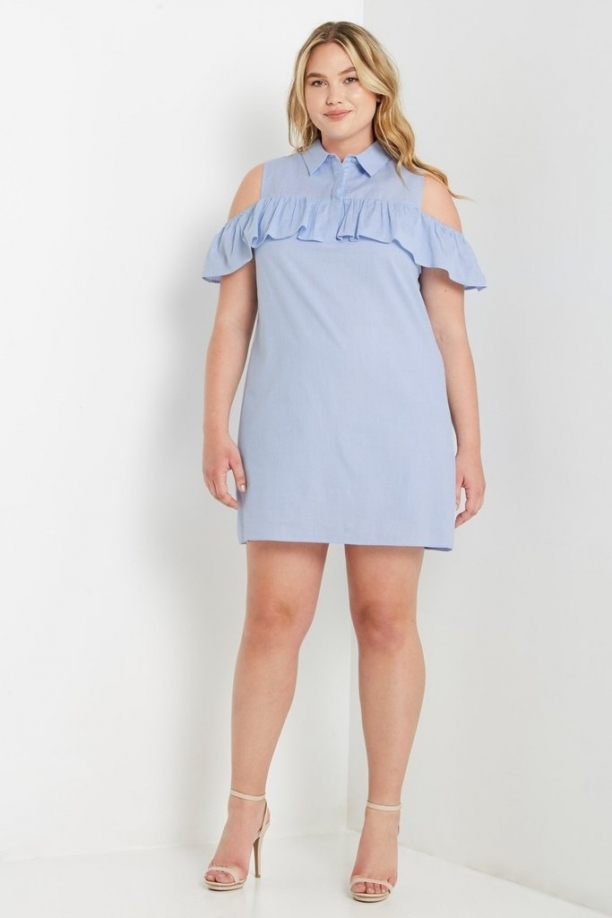 Plus Bella Cold Shoulder Ruffle Dress