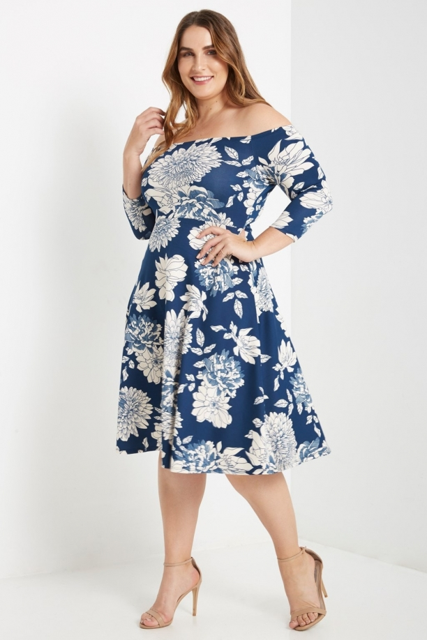 Plus Zara Floral Off The Shoulder Dress