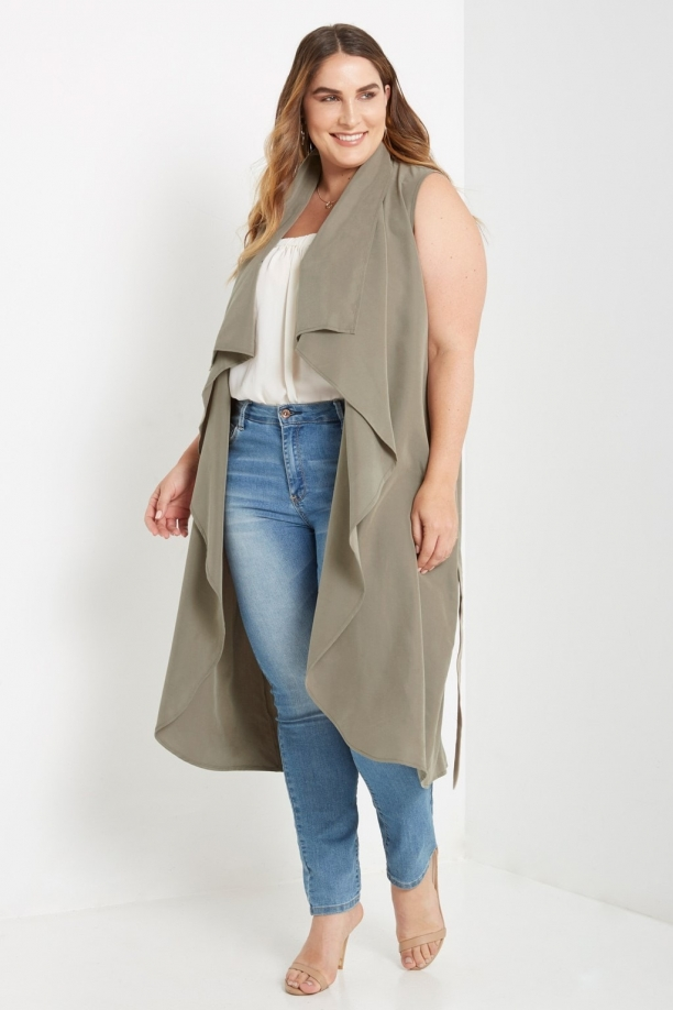 Plus Eva Olive Draped Vest