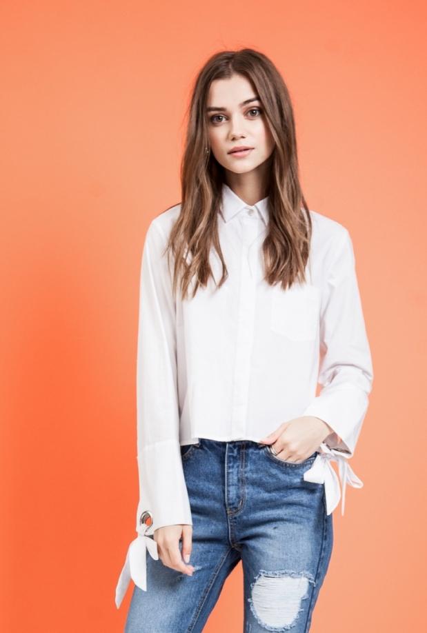 Lizzy Wide Tie Cuff Crop Shirt