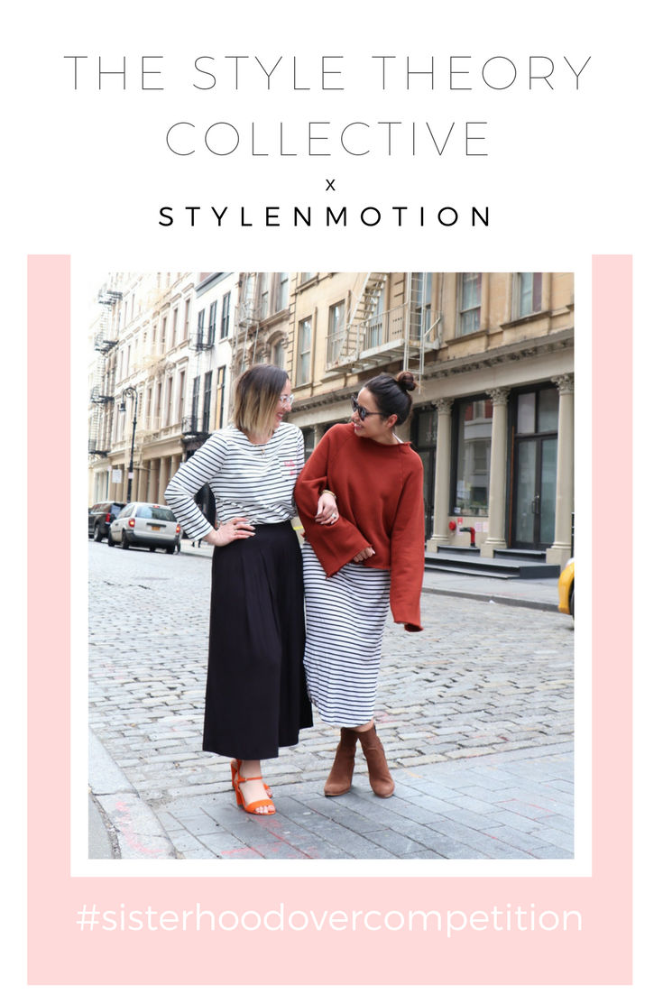 styleNmotion Black Culotte Pants Striped Brighton Top The Style Theory Collective Striped Maxi Dress Layered with a Rust pullover